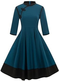 Look at this Dark Blue Asymmetrical Collar A-Line Dress - Women Pretty Outfits, Pretty Dresses, Beautiful Dresses, Cute Fashion, Retro Fashion, Vintage Fashion, Womens Fashion, Vintage Dresses, Vintage Outfits