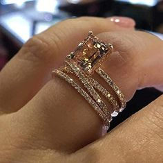 MAIHAO Sparkling Women Fashion 18K Rose Gold Filled Morganite Ring Engagement Bridal Women Jewelry Rings Size 6-10 (US Code 8)