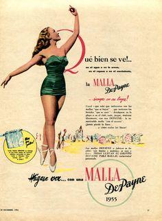 1954 De Payne swimsuits ad from Argentina (Para Ti magazine)