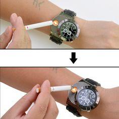 (inkint) ライター 腕時計 充電式 防風 無炎 ライターと時計2用機能 理想的なギフト商品として レディース メンズ 兼用 (ブラック)