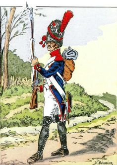French; 30th Line Infantry, Grenadier 1810 by H.Boisselier. note the absence of face plate on the bearskin(i.e. similar to a Carabiner of Light infantry's bearskin) this is also depicted by E.Fort