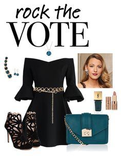 """""""rock the vote"""" by nadinesunny ❤ liked on Polyvore featuring Chicwish, Topshop, Accessorize, tarte, Yves Saint Laurent, Annoushka, Dolce Giavonna and Anne Klein"""