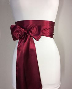 Burgundy Sash, Burgundy Satin Sash Maroon Sash, Holiday Sash Wine Sash Belt, Wrap Belt, Obi Belt Wedding Sash, Bridal Sash Satin Swank Make this Satin Swank® reversible waist sash the perfect finishing touch for your wedding, bridesmaid, or special occasion dress, or just the right piece to add instant polish to your dress or top. This extra long version is 3.5 inches wide, 120 inches long, and will wrap around most waist sizes two times with a generous length remaining to tie in a bow or a…