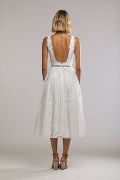 Maya Embroidered Cotton Scoop Back Dress (White)