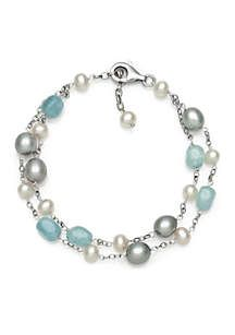 Belk & Co. Sterling Silver Milky Aquamarine and Freshwater Pearl Bracelet   belk