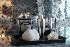 These are cool and might be easier to install. If you like them, i could try to source them. Mirrored Herringbone Backsplash, Contemporary, kitchen, Buckingham Interiors