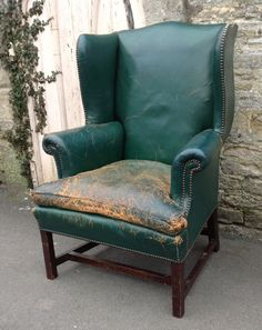 March Antique Furniture Arrivals: Superb Victorian Green Leather upholstery on this handsome Early 19th Century English Wingback Mahogany Armchair, with nice brass close nailing detail, available from WWW.HUTCHISONANTIQUES.COM
