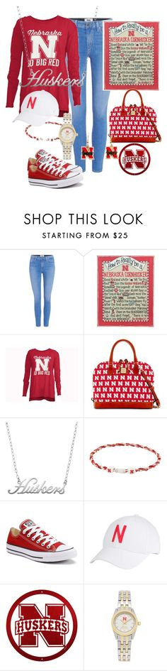 """Nebraska Huskers, GO BIG RED!"" by naviaux ❤ liked on Polyvore featuring Paige Denim, Glory Haus, Dooney & Bourke, Fiora, Eagles Wings, Converse, Top of the World, Jack Mason and aminco"