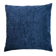 Complete with a removable cushion cover and a durable polyester hollowfibre insert, this square chenille cushion comes in a plain navy textured finish. Navy Pillows, Throw Cushions, Front Room Decor, Floor Protectors For Chairs, Patterned Armchair, Living Room Grey, Cushion Covers, Blue And White, Fabric