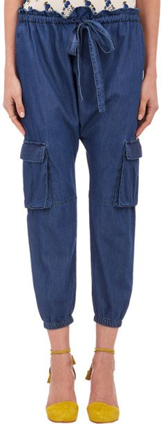 Ulla Johnson Denim Drop-Rise Cargo Pants