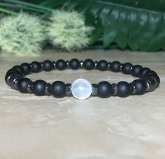 ace4fa83cf6 Men Selenite Bracelet, Agate Bracelet, Hematite Bracelet, Chakra Crystal,  Protection Bracelet, Meditation Bracelet, Healing Crystal