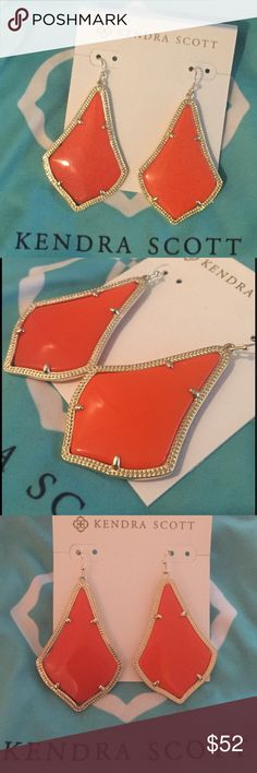 """Kendra Scott Alexandra Orange Drop Earrings Kendra Scott Jewelry uses captivating color and unique designs to create a look that's luxurious for every woman and every occasion. Like the beautiful shapes seen in Moroccan lanterns and patterns, the Alexandra Statement Earrings will be an instant favorite! Gold-plated drop earrings in four-prong setting featuring textured trim with fishhook backing. Size: 2""""L x 1.36""""W on earwire. Perfect for supporting your favorite team on game day! Kendra…"""