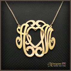 This Personalized monogram necklace is 1.5 inch in diameter and about 0.75mm thick, made of solid sterling silver and Electroplated with a Choice of 18kt. Yellow gold, Pink Gold or White Rhodium Plating. Pendant suspends from a cable Link chain with 3 ...
