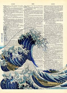 Canvas Ancient Japanese Blue Wave Art Dictionary Poster Print Inch Home Decor Japanese Waves, Japanese Prints, Japanese Art, No Wave, Book Page Art, Book Art, Art Altéré, Newspaper Art, Buch Design