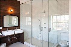 bathroom: hexagon floor tiles with subway tile in shower