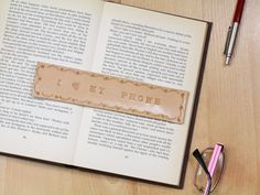I Love My Phone Bookmark Deluxe Leather by TinasLeatherCrafts. Repin To Remember.