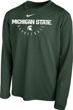 83b91c3f733 Nike Youth Michigan State Spartans Green Legend Basketball Long Sleeve Tee.  Uva Logo