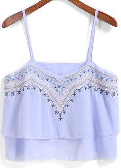 Blue Spaghetti Strap Embroidered Crop Chiffon Vest