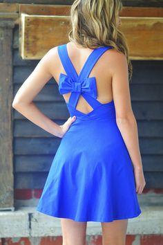 Bow Me Away Dress: Royal Blue