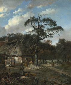 Jan Wijnants - Boslandschap met een jongen en dieren in de buurt van een boernhoeve