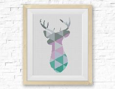 BOGO FREE! Wild Deer, Cross Stitch Pattern, Mountain Forest Woodland Animals Wall, Home Modern Decor Embroidery PDF Instant Download #025-02