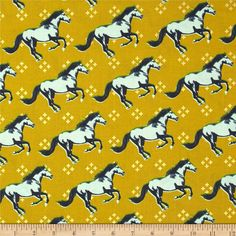 Cotton & Steel Mustang Metallic Gold from @fabricdotcom  Designed by Melody Miller for Cotton + Steel, this cotton print is perfect for quilting, apparel and home decor accents.  Colors include acid green, light aqua, navy, grass green and metallic gold.
