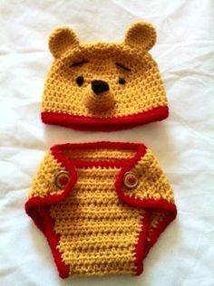 Hand Crochet Baby Pooh Bear Photo prop Diaper Cover and Hat - NEW | eBay