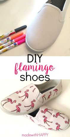 DIY Flamingo Shoes Tutorial | Decorate your own shoes crafts | Fun for a party or wearable art | www.madewithHAPPY.com