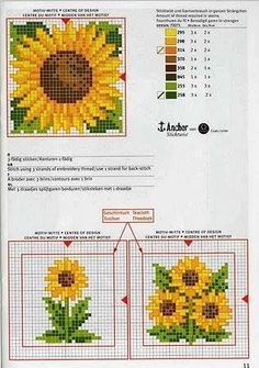 Free sunflower cross stitch pattern #stitching