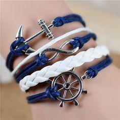 Infinity Anchor Hook Artificial Leather Bracelet, Men Women