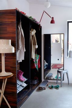 modern open closet with lamp lighting #closet