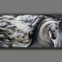 HARMONIE. WEISSES PFERD - ORIGINAL GEMÄLDE - EQUINE UNIQUE - JOART Horse Canvas Painting, Painting & Drawing, Canvas Art, Horse Drawings, Art Drawings, Arte Equina, Horse Artwork, Equine Art, Fantastic Art