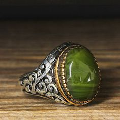 925 K Sterling Silver Man Ring Green Amber 11 US Size B23-66376 #istanbul #Cluster