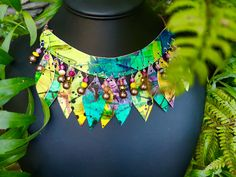 Rainforest, hand painted neckpiece with beads. Stills For Sale, Sell Items, Hand Painted, Beads, Painting, Jewelry, Beading, Bead, Jewels