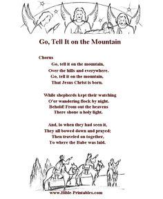 childrens song lyrics go tell it on the mountain children christian songs christian christmas - Christian Christmas Song