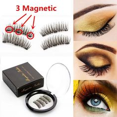 ed7506dc390 Lashes Magnetic 3D Three Magnets Flase Eyelashes 1 Pair Wearing Without  Glue Natural Long Various Style