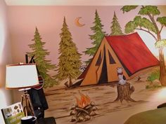 Children's bedroom, boy's room camping mural, scouting