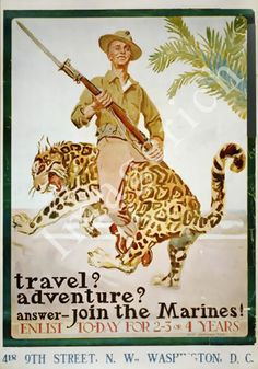 World War 1 Poster - Join the Marines. Enlist to-day for 2-3 or 4 years