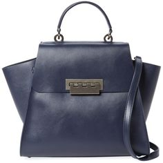 ZAC Zac Posen Women's Eartha Iconic Small Leather Top Handle Satchel ($259) ❤ liked on Polyvore featuring bags, handbags, no color, leather purses, leather flap handbags, leather handbags, locking purse and genuine leather purse