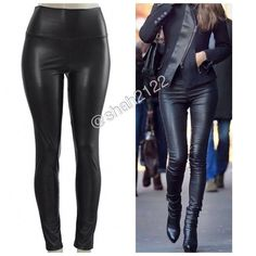 "BLACK faux leather leggings high waist new sexy Black Sexy Vegan Faux leather leggings. Perfect fit  High waist Medium weight Lightly soft Fleece-lined These are Very Stretchy Fabric Content : 65% Polyester + 35% Cotton Measurements laying flat Unstretched to stretched (Inseam = 27-28"") (Total Length= 38-39"") (Front Rise = 12"") (Back Rise =14"")  (Small Waist =11-13"") (Medium Waist =12-14"") (LargeWaist =13-15"") (XL Waist =14- 16 "" )  *Price is firm unless bundled.   ALSO AVAILABLE IN OTHER…"