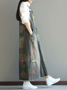 Literature and Art Holes Printed Denim Strap Dresses For Women