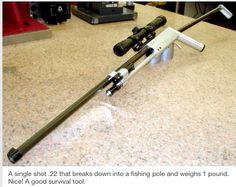 Fishing pole that converts to a .22 rifle.