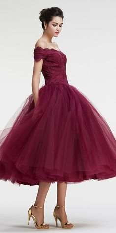 Vintage prom dresses princess prom dress off the shoulder evening dress tea length burgundy homecoming dresses