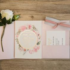pink and gold glitter pocket wedding invitations with flowers in watercolors EWPI209