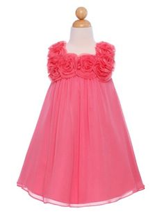 Cute A-line Chiffon dress with beautifully rolled rosettes.