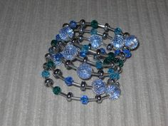 Space Bracelet  Blue Teal and Silver Beaded by luckyblacksheep, $13.00