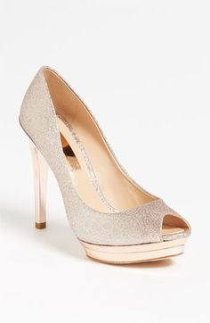 blush glitter streak pumps