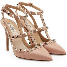 Valentino Rockstud Leather Pumps (2 120 BGN) ❤ liked on Polyvore featuring shoes, pumps, heels, valentino, pink, pink leather shoes, genuine leather shoes, pink shoes, leather pumps and real leather shoes