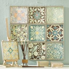 scrapbook paper and dollar store frames. Why can't I think of this stuff?