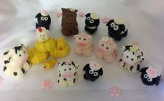 FONDANT FARM ANIMAL Cake Topper Baby shower Firs Birthday edible decorations welcome baby first birthday Horse Cow Pig Chicken flowers Lamb. $45.00, via Etsy.